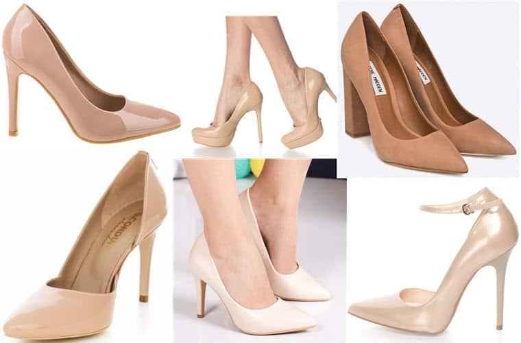 pantofi stiletto nude bej crem