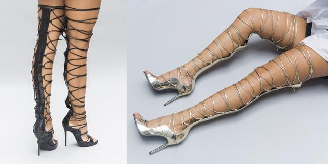 sandale gladiator cu toc peste genunchi melissa